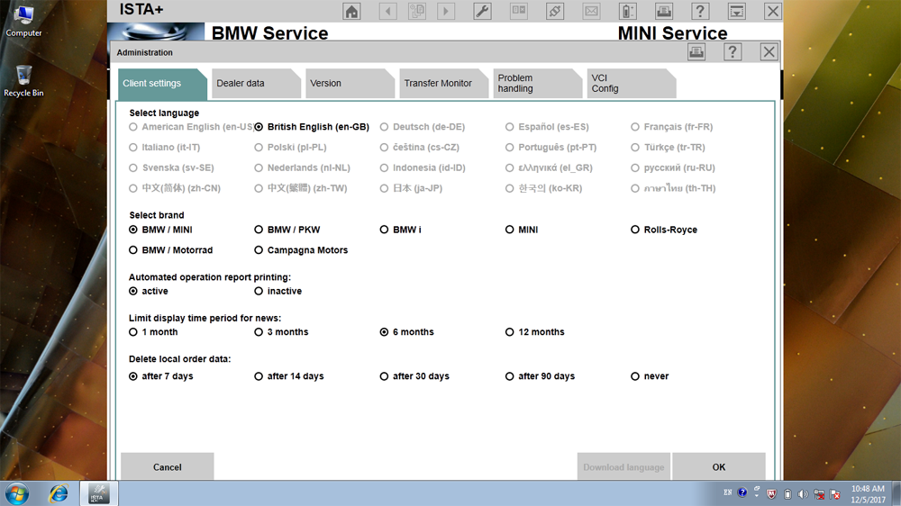 BMW ICOM A2 ISTA-D Languages