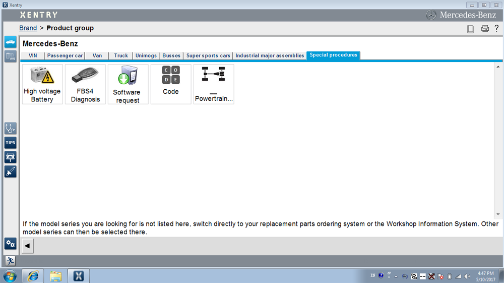 SD Connect C4 Software Special Procedures