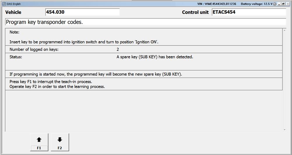 Benz Smart 454 Key Programming Function